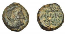 1161  -  HISPANIA ANTIGUA. CARMO. As. A/ Cabeza de Hércules con leonté a der. R/ Dos espigas a der., en medio (C)ARMO. AE 20,7 g. 25,2 mm. I-466. ACIP-2395. Pequeñas marcas. Pátina oscura. MBC.