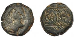 1162  -  HISPANIA ANTIGUA. CARMO. As. A/ Cabeza de Hércules con leonté a der. R/ Dos espigas a der., en medio CARMO, estilo tosco. AE 18,98 g. 25,9 mm. I-466. ACIP-2395. Pátina oscura. BC+/MBC-.