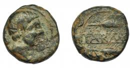 1166  -  HISPANIA ANTIGUA. CARMO. As. A/ Cabeza masculina a der., detrás delfín. R/ Dos espigas a der., en medio entre líneas KARMO. AE 18,75 g. 24,6 mm. I-464. ACIP-no. Pátina verde oscuro. BC+/MBC-.