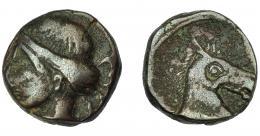 1175  -  HISPANIA ANTIGUA. ACUÑACIONES HISPANO-CARTAGINESAS. Unidad. A/ Cabeza femenina con tocado vegetal a izq. R/ Cabeza de caballo a der. AE 6,60 g. 16,5 mm. I-514. ACIP-584. Pátina oscura. MBC-/MBC.