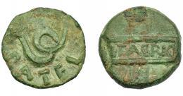 1186  -  HISPANIA ANTIGUA. CARTHAGO NOVA. Semis. Fines s. I a.C.-s. I-d.C. A/ Serpiente, alrededor P ATEL(LIVS). R/ Dos cartelas cruzadas, en la horizontal L FABRIC. AE 6,43 g. 20,3 mm. I-569. APRH-146. ACIP-2525. Pátina verde con laguna concreción. MBC+. Ex Áureo, 5-3-1997, lote 119.