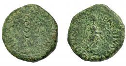 1190  -  HISPANIA ANTIGUA. CARTHAGO NOVA. Semis. Fines s. I a.C.-s. I-d.C. A/ Victoria avanzando a der.; P BAEBIVS POLLIO II VIR QVIN. R/ Dos signa; (Q AQVINVS MELA) II VIR. AE 6,29 g. 20,9 mm. I-580. APRH-157. ACIP-2538. Pátina verde. BC+.
