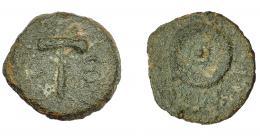 1191  -  HISPANIA ANTIGUA. CARTHAGO NOVA. Cuadrante. Fines s. I a.C.-s. I-d.C. A/ Martillo; CON(D/ MALL). R/ Rodela; (II VIR QVINQ). AE 24,7 g. 17 mm. I-574. ACPRH-159. ACIP-2541. Superficies erosionadas. BC+. Rara. Compra privada Pliego (1998).