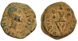 1193  -  HISPANIA ANTIGUA. CARTHAGO NOVA. Augusto. Semis. A/ Cabeza a der.; (L) BEN PARA(E IM)P CAES (QVIN). R/ Trofeo; Q VARIO (PRAEF). AE 5,32 g. 20,8 mm. I-588. APRH-163. ACIP-3133. Pátina verde oscuro. BC+. Ex Herrrero, 14-3-1996.