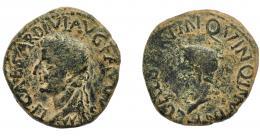 1203  -  HISPANIA ANTIGUA. CARTHAGO NOVA. Tiberio. As. A/ Cabeza laureada a izq.; TI CAESAR DIVI AVGVSTI F (…). R/ Cabeza de Calígula a izq.; C CAESAR TI N QVINQ IN (V I N K). AE 10,48 g. 27,2 mm. I-601. APRH-182. ACIP-3152. Pátina oscura terrosa. BC+/BC.