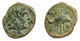 1209  -  HISPANIA ANTIGUA. CARTEIA. Semis. A/ Cabeza de Júpiter a der. R/ Delfín a der., encima Q PEDECAI, debajo CARTEIA. AE 4,98 g. 23,3 mm. I-645 (vte.). ACIP-2564. Múltiples rayitas. Pátina verde. BC+. Ex Áureo, 1-7-1997, lote 2140.