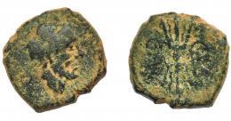 1212  -  HISPANIA ANTIGUA. CARTEIA. Semis. A/ Cabeza de Júpiter a der., detrás (S). R/ Haz de rayos; C(ES)/CAR. AE 9,3 g. 21,5 mm. I-653. ACIP-2571. Pátina verde oscuro. BC.