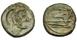 1214  -  HISPANIA ANTIGUA. CARTEIA. Semis. A/ Cabeza de Hércules con leonté a der. R/ Proa a der., encima CARTE, delante S. AE 4,64 g. 17,8 mm. I-635. ACIP-2588. Erosiones. Pátina verde. BC+. Muy rara. Ex Áureo, 21-10-1997, lote 1028.