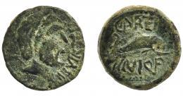 1215  -  HISPANIA ANTIGUA. CARTEIA. Cuadrante. A/ Cabeza de Neptuno a der., delante IIII VIR (TER). R/ Delfín a der., encima CARTEI, debajo C MINI Q F. AE 4,15 g. 19,7 mm. I-626 (vte.). ACIP-2599. Campos repasados. Pátina verde. BC+.