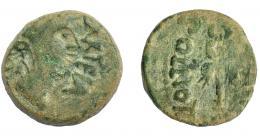 1218  -  HISPANIA ANTIGUA. CARTEIA. Semis. A/ Cabeza femenina con corona turriforme a der., detrás (EX D D), delante CARTEIA. R/ Caduceo alado; POLLIO I(III - C MIVS C F), debajo (VIR). AE 6,33 g. 20,7 mm. I-674. APRH-113. ACIP-2605. Pátina verde. BC+.