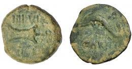1222  -  HISPANIA ANTIGUA. CARTEIA. Cuadrante. A/ Delfín con tridente a izq., debajo CARTEIA. R/ Timón; IIII VIR/ D D. AE 4,27 g. 18,8 mm. I-683. APRH-119. ACIP-2612. Pátina verde terrosa. BC+.