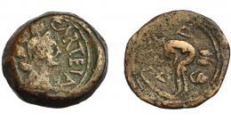 1223  -  HISPANIA ANTIGUA.  CARTEIA. Semis. A/ Cabeza femenina con corona turriforme a der.; delante CARTEIA. R/ Pescador sentado a izq.; D-D. AE 7,7 g. 23 mm. I-665. APRH-120. ACIP-2613. BC+. Ex Áureo, 27-1-1994, lote 185.