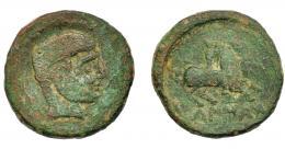 1227  -  HISPANIA ANTIGUA. KAISKATA. Unidad. A/ Cabeza masculina a der., delante signo ibérico (Ka), detrás arado. R/ Jinete lancero a der., debajo KaISKaTa. AE13,77 g. 27,9 mm. I-687. ACIP-1681. Pátina verde con erosiones. BC+. Rara.