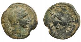 1231  -  HISPANIA ANTIGUA. CASTULO. As. A/ Cabeza diademada a der. R/ Esfinge a der., delante estrella, debajo KaSTiLO, retrógrada. AE 14,63 g. 31 mm. I-694. ACIP-2105. Pátina verde con pequeñas erosiones. BC+.
