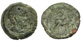 1236  -  HISPANIA ANTIGUA. CASTULO. Semis. A/ Cabeza masculina diademada a der., delante S. R/ Toro parado a der., encima creciente, delante signo ibérico S, debajo KaSTiLO (no visible). AE 9,97 g. 22,6 mm. I-715. ACIP-2116. Pátina verde con erosiones. Bc+/BC-.