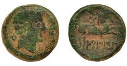 1024  -  HISPANIA ANTIGUA. ARATIKOS. As. A/ Cabeza masculina a der., delante ¿creciente?, detrás signo ibérico A. R/ Jinete con lanza a der., debajo ARATiKoS. AE 10,78 g. 23,9 mm. I-67. ACIP-1806. Pátina verde. BC. Escasa.
