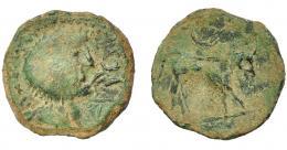 1242  -  HISPANIA ANTIGUA. CASTULO. Semis. A/ Cabeza masculina laureada a der., delante ley. ilegible. Estilo tosco. R/ Toro a der., encima creciente. AE 4,63 g. 21,6 mm. I-no. ACIP-2123. Pátina verde terrosa. BC+. Rarísima.