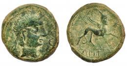 1245  -  HISPANIA ANTIGUA. CASTULO. As. A/ Cabeza masculina diademada a der., delante creciente. R/ Esfinge a der., delante estrella; KaSTiLO. AE14,77 g. 29 mm. I-702. ACIP-2136. Pátina verde. MBC-.