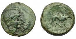 1246  -  HISPANIA ANTIGUA. CASTULO. As. A/ Cabeza masculina laureada a der., delante mano. R/ Esfinge a der., delante estrella; bajo línea KaSTiLO. AE19,78 g. 27,1 mm. I-707. ACIP-2143. Pátina verde. MBC-. Compra privada Pliego (1994).