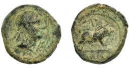1250  -  HISPANIA ANTIGUA. CASTULO. Cuadrante. A/ Cabeza masculina diademada a der., delante signo ibérico To. R/ Jabalí a der., encima estrella, debajo KaSTiLO. AE 3,41 g. 16,8 mm. I-738. ACIP-2153. Pátina verde. RC. Muy rara.