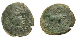 1255  -  HISPANIA ANTIGUA. CASTULO. Semis. A/ Cabeza masculina diademada a der.; M PO P(ILI M F). R/ Toro a der.; (P)COESTA R(EF). AE 6,89 g. 24,4 mm. I-731. ACIP-2161. Pátina verde oscuro. BC+. Ex Pliego, 19-5-2001.