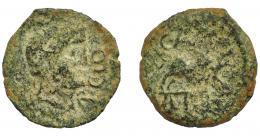 1256  -  HISPANIA ANTIGUA. CASTULO. Cuadrante. A/ Cabeza laureada a der., delante AP CLO. R/ Jabalí a der., encima C AVF, exergo A POS. AE 2,44 g. 18,5 mm. I-no. ACIP-2162. Pátina verde. BC-. Muy rara.