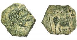 1258  -  HISPANIA ANTIGUA. CASTULO. ¿Sextante? A/ Cabeza masculina diademada a der. R/ Toro parado a der., encima creciente. AE 1,43 g. 15,2 mm. I-746. ACIP-2172. BC+.