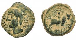 1259  -  HISPANIA ANTIGUA. CASTULO. As. A/ Cabeza masculina a izq.; L QVL F-Q VSC F. R/ Rapto de Europa; debajo M C F. AE13,92 g. 30 mm. I-747. ACIP-2174. Pátina verde terrosa. MBC-.