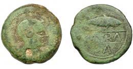 1260  -  HISPANIA ANTIGUA. CAURA. As. A/ Cabeza con casco a der., detrás X, alrededor láurea. R/ Sábalo a der., debajo creciente y A. En medio, entre líneas (CAV)RA. AE 20,80 g. 31,1 mm. I-765. ACIP-2408. Erosión en anv. Pátina verde. BC/BC-. Muy rara.