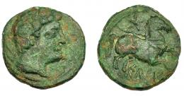 1266  -  HISPANIA ANTIGUA. KELSE. As. A/ Cabeza masculina a der., detrás delfín. R/ Jinete lancero a der., debajo sobre línea KeLSE. AE 11,07 g. 26,4 mm. I-778 vte. ACIP-1746. Erosiones. Pátina verede con tonos rojos. BC+.