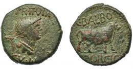 1274  -  HISPANIA ANTIGUA. CELSA. As. A/ Busto femenino con palma a der.; encima PR II VIR/ C V I L. R/ Toro a der., C BALBO/ PORCIO. AE 16,71 g. 28,5 mm. I-800. APRH-262. ACIP-1493. Pátina verde oscuro con pequeñas erosiones. MBC-. Ex Áureo, 1-3-1995, lote 2087.