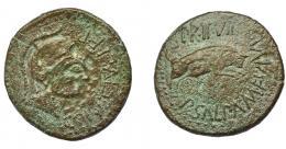 1277  -  HISPANIA ANTIGUA. CELSA. As. A/ Cabeza de Palas a der.; COL VIC IVL LEP. R/ Toro saltando a der.; PR II VIR-P SALPA/M FVLVI. AE 13,10 g. 29,9 mm. I-799. APRH-264b. ACIP-1496. Pátina muy rugosa. BC+. Ex Numag, 24-9-1995.