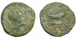 1291  -  HISPANIA ANTIGUA. CELTITAN. As. A/ Cabeza masculina diademada a der. R/ Jabalí sobre punta de lanza a der.; CELTITAN. AE 20,72 g. 31,7 mm. I-822. ACIP-2427. Pátina verde con erosiones. BC/BC+. Rara.