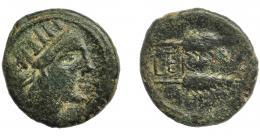 1292  -  HISPANIA ANTIGUA. CERIT. Semis. A/ Cabeza femenina radiada a der. R/ Dos espigas a der., en medio CER(…). AE 7 g. 22,8 mm. I-823, ACIP-2413. Pátina oscura. BC+.