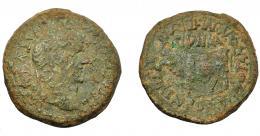 1296  -  HISPANIA ANTIGUA. CLUNIA. Tiberio. As. A/ Cabeza laureada a der.; TI CAESAR AVG F AVGVSTVS IMP. R/ Toro a izq., encima CLVNIA; CN POMP M AVTO T ANTO M IVL SERAN IIII VIR. AE 14,47 g. 29,2 mm. I-836. APRH-452. ACIP-3172. Pátina verde con concreciones. BC+.