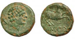 1302  -  HISPANIA ANTIGUA. KONTERBIA KARBIKA. Divisor. A/ Cabeza masculina a der., detrás delfín. R/ Caballo con rienda suelta a der., bajo línea KaRBiKa. AE 4,1 g. 18,8 mm. I-854. ACIP-1831. Pátina verde. MBC-.