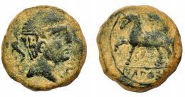 1309  -  HISPANIA ANTIGUA. KONTERBIA BELAISKOM. Unidad. A/ Cabeza masculina a der., delante delfín, detrás BeL. R/ Jinete con LANZA a der., debajo bajo línea KoNTeBaKoM. AE 9,64 g. 22,6 mm. I-861. ACIP-1595. Pátina verde rugosa. BC+. Ex Vico, 17-6-1993, lote 65.
