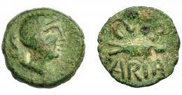 1317  -  HISPANIA ANTIGUA. CUMBARIA. Semis. A/ Cabeza masculina a der., delante palma, detrás S. R/ Atún a der., CVNB/ARIA. AE 4,33 g. 19,7 mm. I-877. ACIP-2620. Pátina verde con pequeñas erosiones. BC+/MBC-.