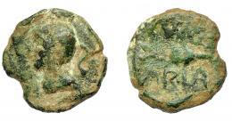 1319  -  HISPANIA ANTIGUA. CUMBARIA. Semis. A/ Cabeza masculina a izq., detrás S. R/ Atún a der., (C)V(NB)/ARIA. AE 6,3 g. 21,11 mm. I-877. ACIP-2622. Cospel irregular. Pátina verde. BC-. Rarísima.