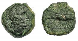 1320  -  HISPANIA ANTIGUA. CUMBARIA. Semis. A/ Cabeza masculina barbada y laureada a der., delante palma (no visible) y detrás cetro. R/ Sábalo o atún a izq., encima CONV(BARIA), debajo (EX) S(C). AE 8,36 g. 20,3 mm. I-882. ACIP-2422 (Onuba). Pátina oscura. MBC-/BC+. Compra privada Pliego (1995).