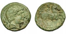 1325  -  HISPANIA ANTIGUA. TAMUSIA. Unidad. A/ Cabeza masculina a der., delante y detrás delfín. R/ Jinete lancero a der., debajo bajo línea TAMUSIA. AE 9,5 g. 23,7 mm. I-894. ACIP-1618. Pátina verde. MBC.