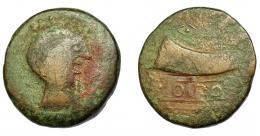 1326  -  HISPANIA ANTIGUA. DIPO. Unidad. A/ Cabeza masculina a der. R/ Cornucopia a izq., debajo DIPO en cartela. AE 19,89 g. 30,9 mm. I-897. ACIP-2493. Pequeñas marcas. BC/BC+. Rara. Ex Áureo, 18-10-1994, lote 46.