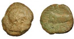 1327  -  HISPANIA ANTIGUA. DIPO. Unidad. A/ Cabeza masculina a der. R/ Cornucopia a izq., debajo DIPO en cartela poco visibles. AE 14,26 g. 29,6 mm. I-897. ACIP-2493. Pátina marrón verdosa. BC-. Rara.