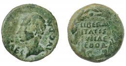 1330  -  HISPANIA ANTIGUA. Augusto. As. A/ Cabeza a izq.; PERM CAES AVG P M. R/ LIBERAL/ITATIS/IVLIAE/EBOR, dentro de corona cívica. AE 12,08 g. 25,9 mm. I-901. APRH-51c. ACIP-3418. Pátina verde. BC-/MBC-.