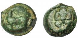 1331  -  HISPANIA ANTIGUA. EBUSUS. Cuarto. A/ Bes. R/ Toro a izq. con cabeza de frente. AE 3,27 g. 13,2 mm. I-907. ACIP-968. Pátina verde. MBC-. Ex Áureo, 21-1-1997, lote 162.