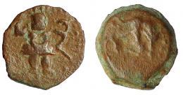 1333  -  HISPANIA ANTIGUA. EBUSUS. Octavo. A/ Bes. R/ Toro embistiendo a der. AE 0,68 g. 9,9 mm. I-924. ACIP-706. MBC-/BC+. Ex Áureo, 21-1-1997, lote 167.