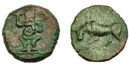 1334  -  HISPANIA ANTIGUA. EBUSUS. Cuarto. A/ Bes. R/ Toro embistiendo a izq. AE 3,76 g. 17,1 mm. I-923. ACIP-719. Pátina verde. MBC.