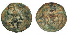 1335  -  HISPANIA ANTIGUA. EBUSUS. Cuarto. A/ Bes. R/ Bes, ¿a izq. caduceo? AE 1,67 g. 15,2 mm. I-936? ACIP-729? Marcas. Pátina verde terrosa. MBC-. Compra privada a Pliego (1992).