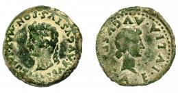 1355  -  HISPANIA ANTIGUA. EMERITA. Tiberio. As. A/ Cabeza laureada a izq.; TI CAESAR AVGVSTVS PON MAX IMP. R/ Cabeza de Livia a der.; (C) A E IVLIA AVGVST(A). AE 10,12 g. 26,6 mm. I-1053. APRH-40. ACIP-3406. Pátina verde terrosa. MBC-/BC+. Rara.