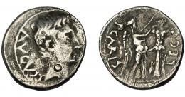 1358  -  HISPANIA ANTIGUA. EMERITA. Quinario. Augusto. A/ Cabeza a der.; AVGVST. R/ Victoria a der. coronando trofeo; P CARISI-LEG. AR 1,58 g. 13,9 mm. RIC-1a. I-982. ACIP-4431. Anv. descentrado. Contramarca en anv. BC+/MBC-. Áureo, 16-5-1995, lote